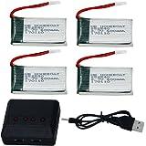 HB HOMEBOAT® Syma X5 x5C x5C-1 X5SC X5SW Pièces 600mAh 3.7V 20C Lipo batterie (4PCS) avec 4 En 1 X4 Chargeur de batterie