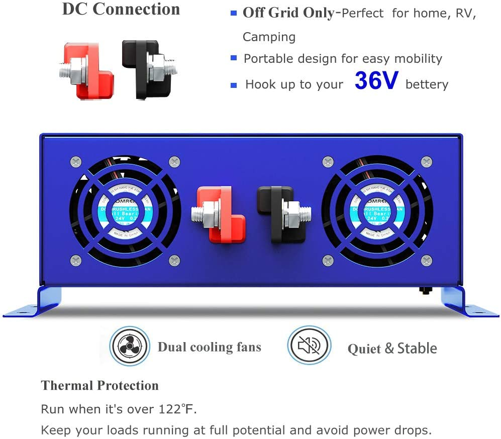 3500W//12V XYZ INVT 3500W Pure Sine Wave Inverter 12V DC to 110V 120V AC Surge 7000 Watt Power Inverter Converter Generator w// 100ft Wireless Remote Control for Solar System RV. Off Grid