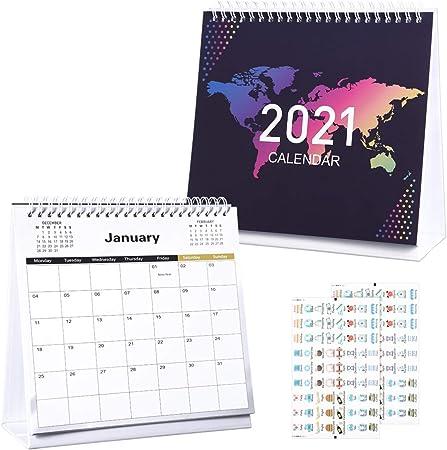 NUOBESTY Calendario da Scrivania 2021 con 2 Fogli Adesivi 12 Mesi