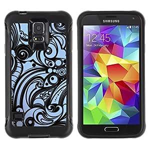 """Pulsar iFace Series Tpu silicona Carcasa Funda Case para Samsung Galaxy S5 V , Wallpaper Azul Negro modelo de ondas Arte"""""""