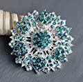 Teal Blue Aqua Blue Rhinestone Brooch Crystal Brooch Wedding Bridal Brooch Bouquet Cake Decoration Hair Comb Shoe Clip BR222