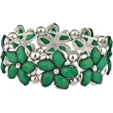 Lux Accessories Solid Stone Flower Floral Stretch Bracelet