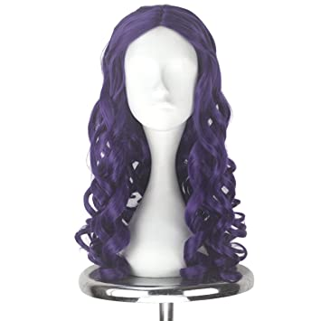 Amazon.com   Synthetic Long Curly Center Part Women White Blonde Platinum  Color Queen Halloween Cosplay Costume Wig Adult Kids (Purple)   Beauty 9aa4b31a30