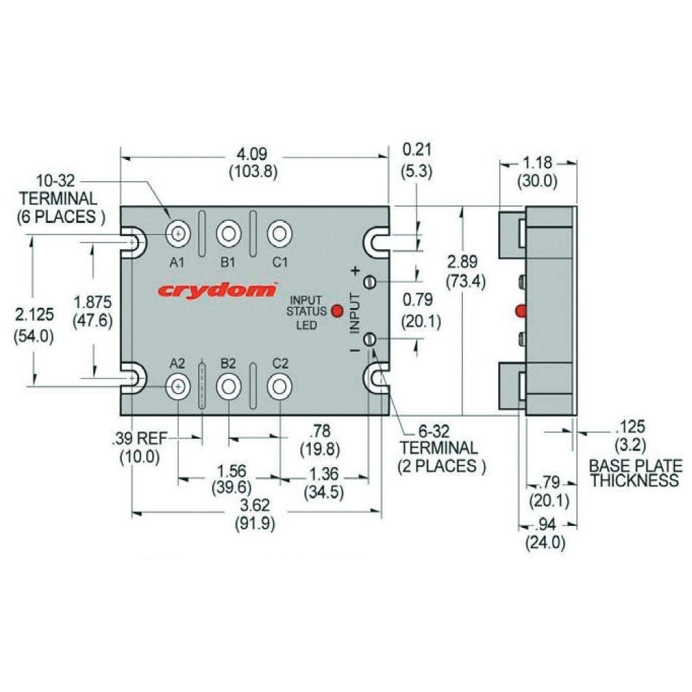 Crydom Cst D53tp50d 10 4 To 32vdc Input Voltage Ssr Wiring Diagram 48 530vac Output Max W Heat Sink 50a Switch Type Scr Home