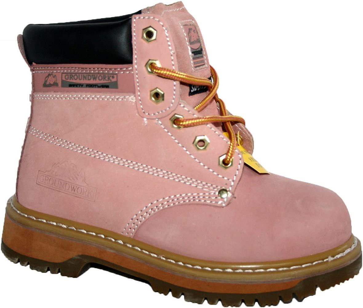 SK21 Botas de seguridad para mujer, con cordones, puntera de acero, color rosa, talla 5 UK