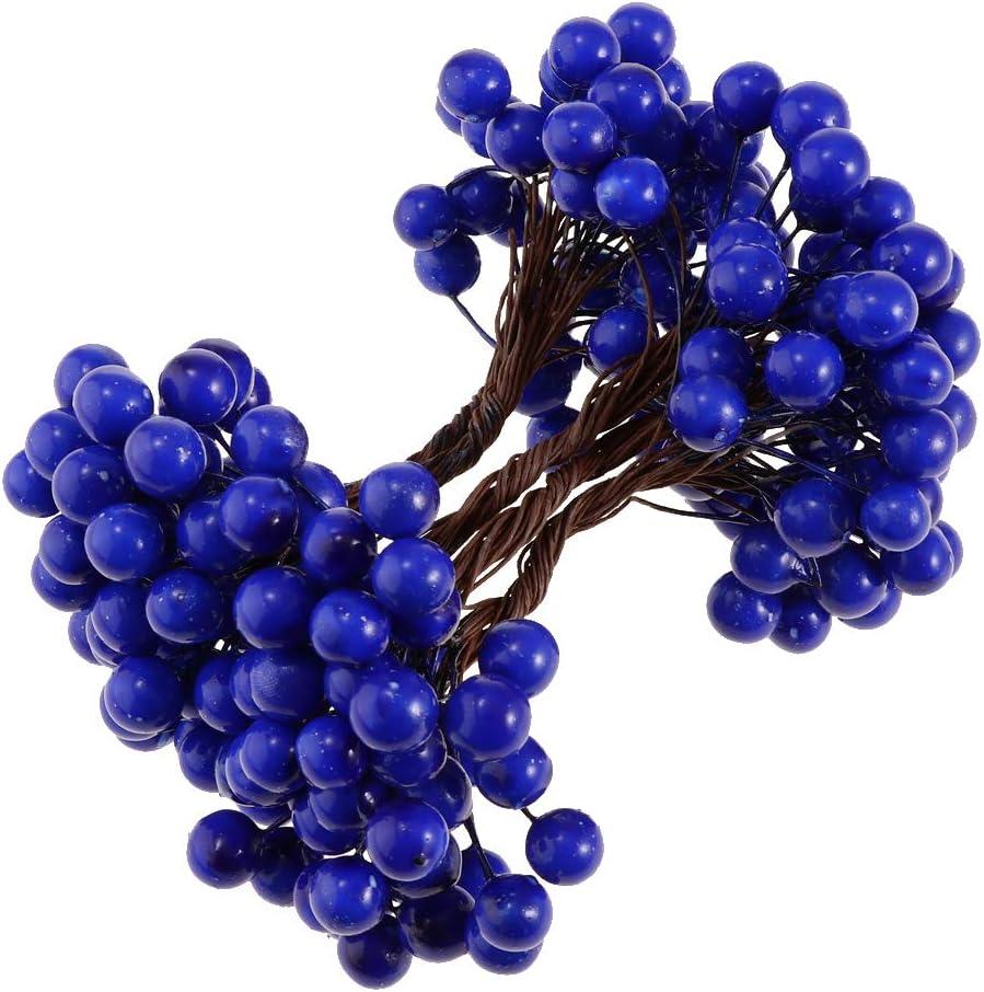 Mini 100Pcs 40-Heads Artificial Fruit Berries Blueberry Trees Shrubs for Home Pub Cafe Wedding Bouquet Flower Wreath Xmas Tree Top Decor Blue