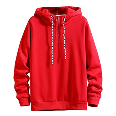WINJUD Mens Hoodie Zipper Hooded Solid Sweatershirt Long Sleeve Drawstring Pullover Top at Men's Clothing store