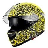 1Storm Motorcycle Face Helmet Dual Lens/Sun Visor Matt Skull Yellow
