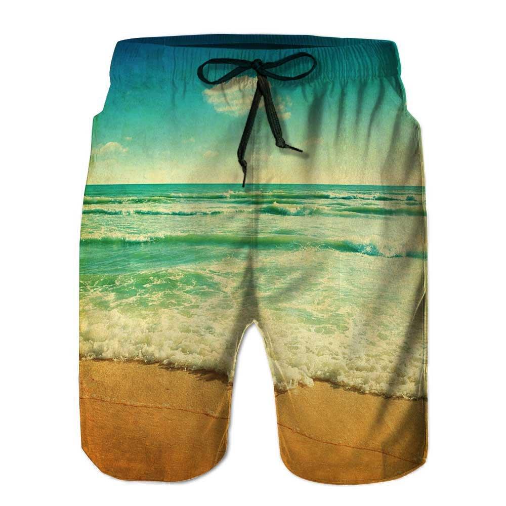 aolankaili Mens Swim Trunks,Blue Indian Ornament Quick Dry Board Shorts