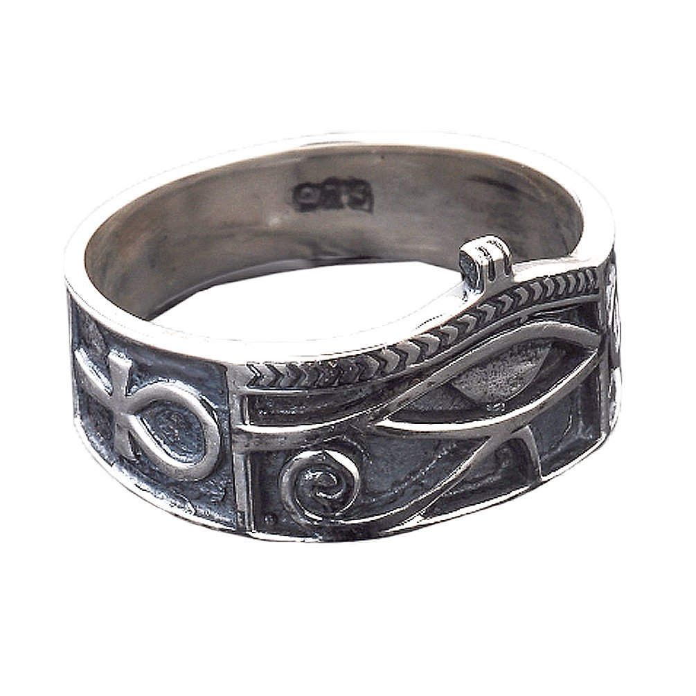Sterling Silver Eye of Horus Ankh Ring with Antique Finish
