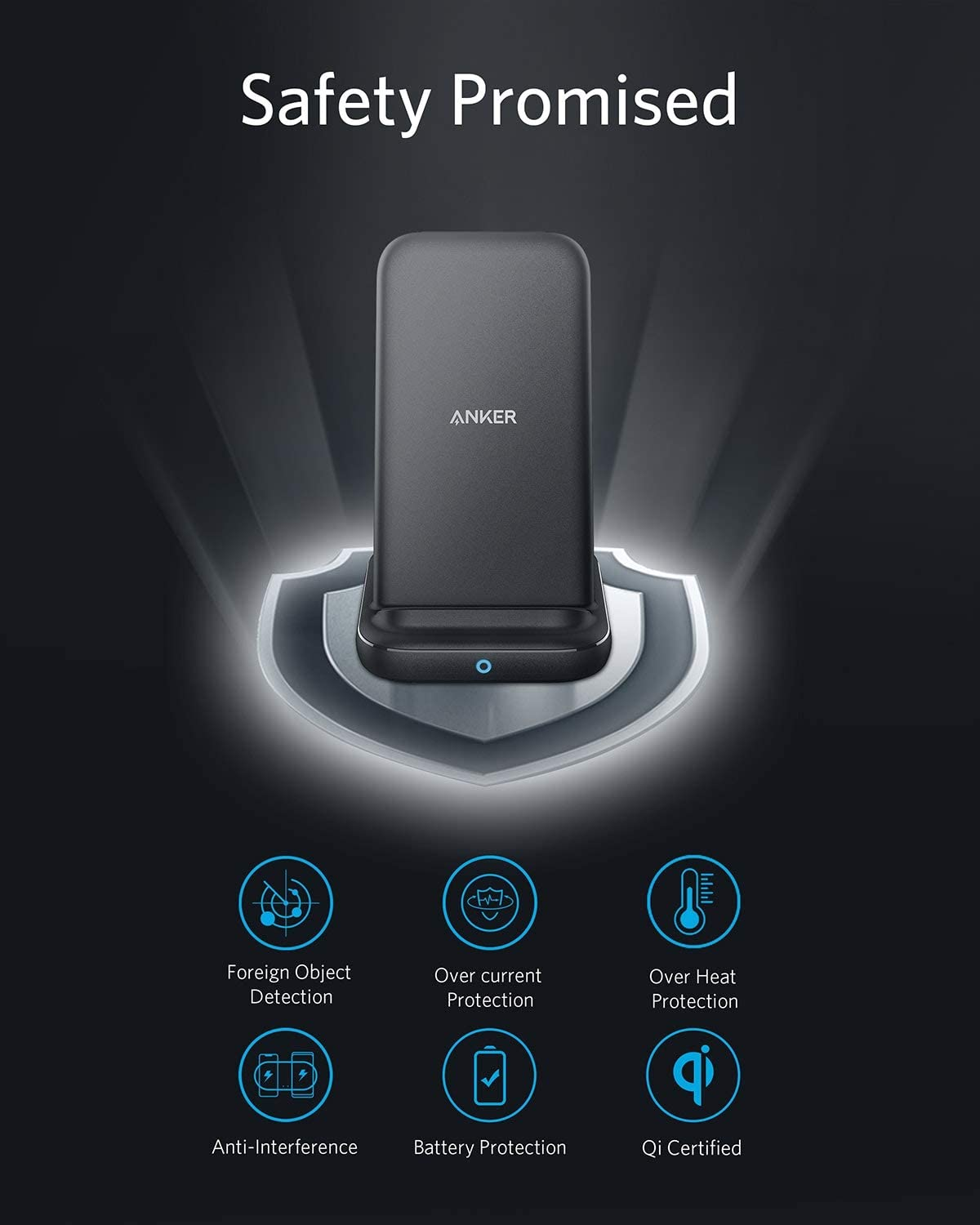 Anker PowerWave 10 Stand with 2 USB-A Ports Note 10 Note 9 Qi-Certified Fast Wireless Charger Stand Samsung Galaxy S10 S9 S8 Compatible with iPhone Xs Max XR XS X 8//8 Plus DC Adapter Included
