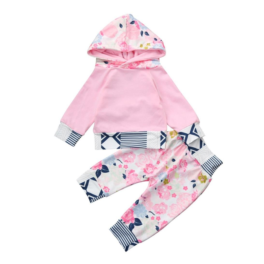 Lavany 2Pcs Infant Baby Girls Outfits Flower Print Hoodie Tops+Pants Clothes Set