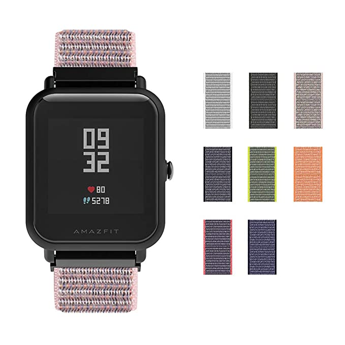 Correa Xiaomi Huami AMAZFIT Bip Banda/Band/Pulsera/Strap de Recambio SIKAI 20mm Reemplazo Adjustable Band de Nilón para Withings Steel HR 40mm,Pebble ...