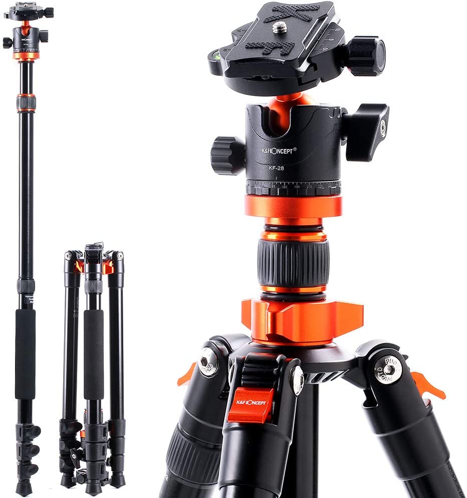 K&F Concept SA254M1 62'' DSLR Camera Tripod Lightweight and Compact Aluminum Detachable Monopod Tripod with 360 Panorama Ball Head Quick Release Plate for Travel and Work