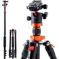 """Camera Tripod, K&F Concept 62"""" Aluminum Tripod Monopod with Quick Release Plate, Ball Head and Compact Travel Carrying…"""