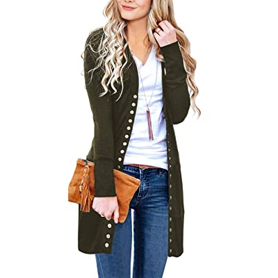 MEROKEETY Women's Long Sleeve Snap Button Down Solid Color Knit Ribbed Neckline Cardigans at Women's Clothing store