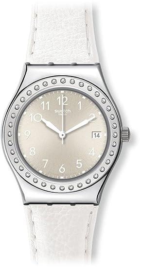 Swatch YLS448 - Reloj analógico de cuarzo para mujer con correa de piel, color blanco: Amazon.es: Relojes