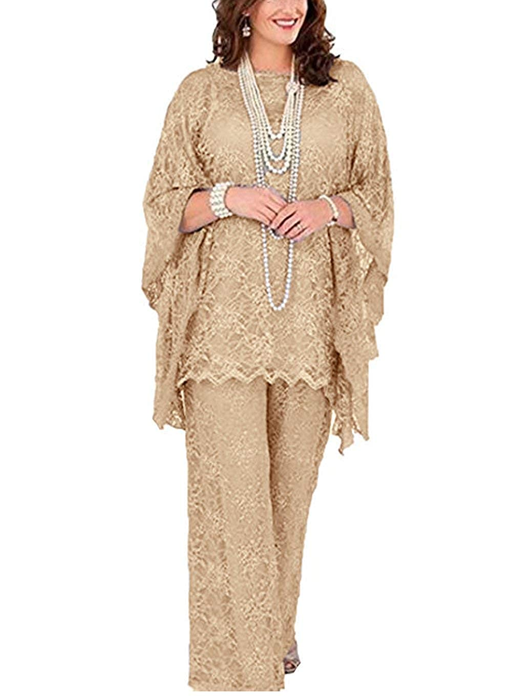 Champagne Women's 3 Pieces lace Mother of Bride Dress Pant Suits Long Sleeves