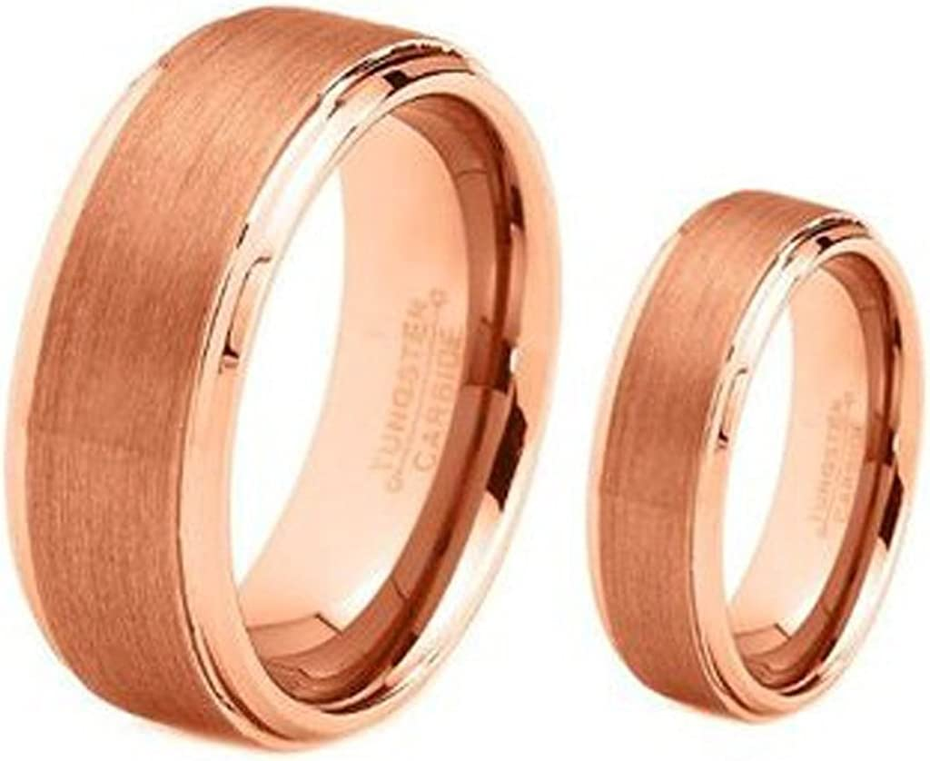 His & Her's 8MM/6MM Rose Gold Brushed Center Step Edge Tungsten Carbide Wedding Band Ring Set