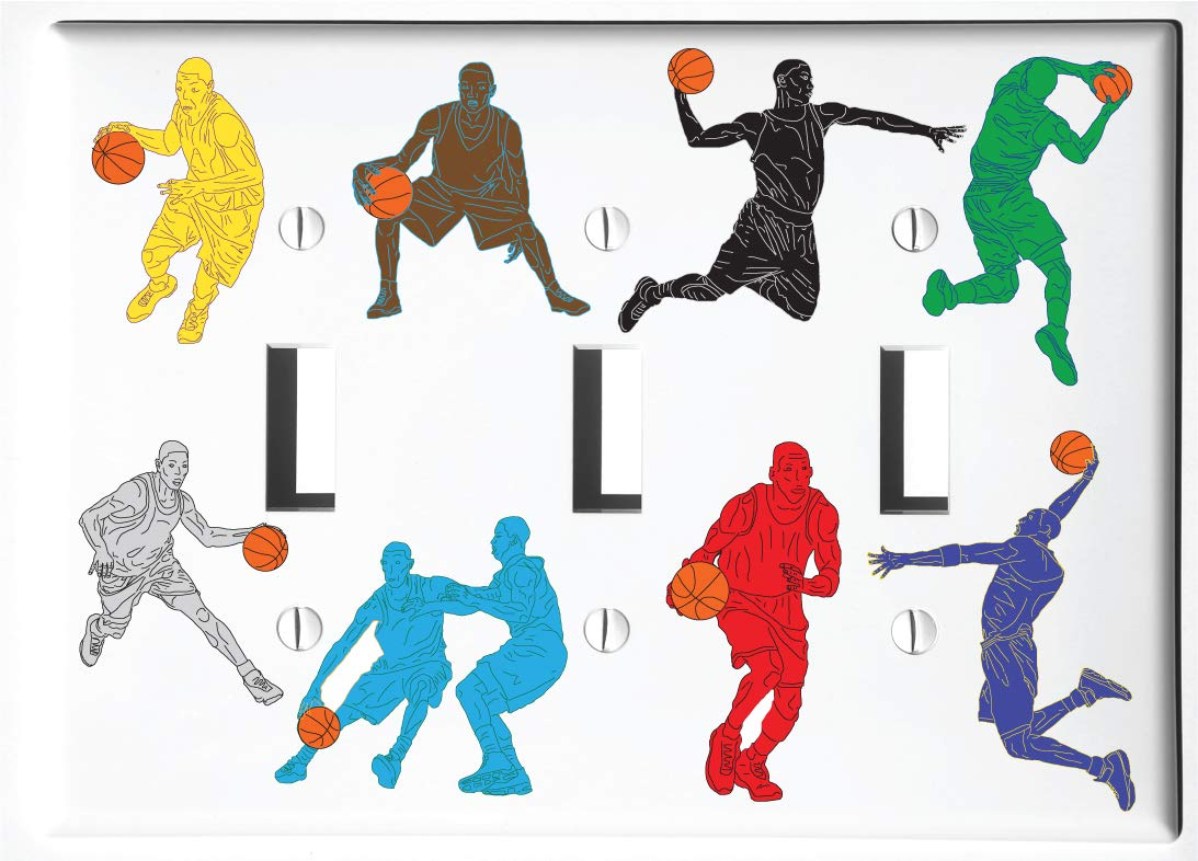 Basketball Light Switch Plate and Outlet Covers Basketball Sports Children's Room Wall Decor (Triple Toggle Switch Plate) by Presto Chango Decor