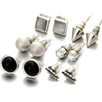 Shining Diva Fashion Silver Plated Stylish Fancy Party Wear Stud Earrings For Women & Girls - Combo of 6(Silver)(cmb267)