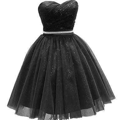 abfb9dcb7a Liaoye Women s Short Prom Dress Tulle Short Homecoming Dresses Plus Size  Bling Belt Black 2