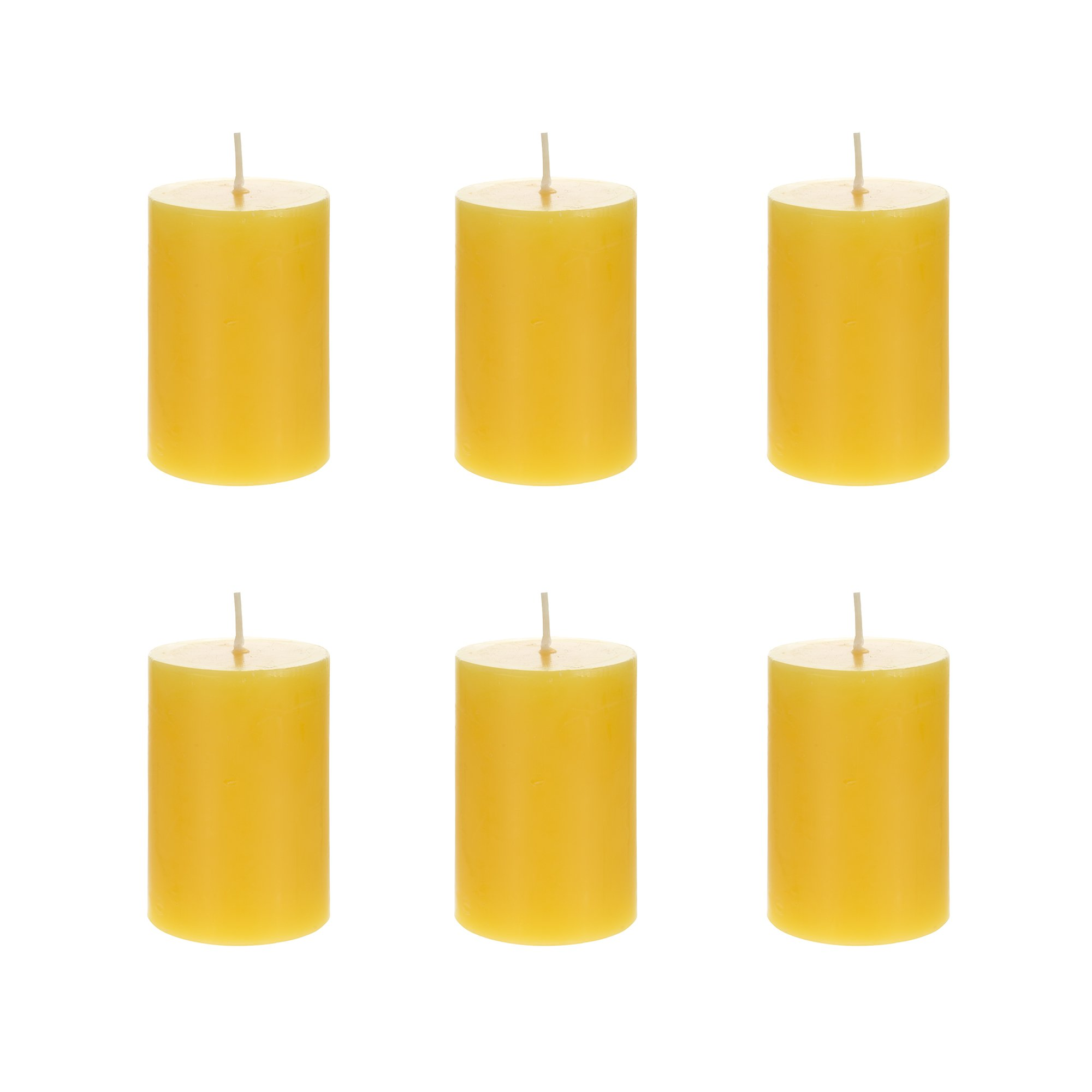 Mega Candles 6 pcs Citronella Round Pillar Candle | Hand Poured Paraffin Wax Candles 2'' x 3'' | Bug Repellent Candles For Indoor And Outdoor Use | Everyday Candles For Mosquitoes And Insects