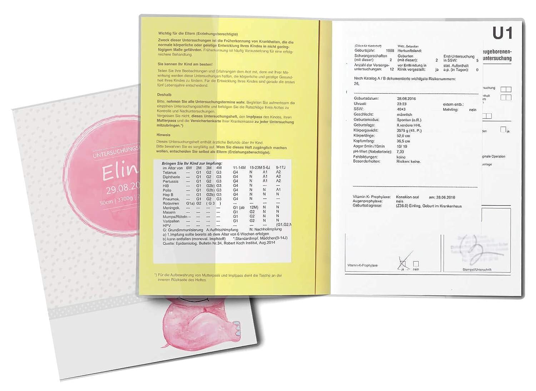 U-Heft Set personalisiert, Pink Hippo U-Heft H/ülle SET Safari Tour Untersuchungsheft H/ülle /& Impfpassh/ülle tolle Geschnkidee personalisierbar mit Namen und Geburtsdatum