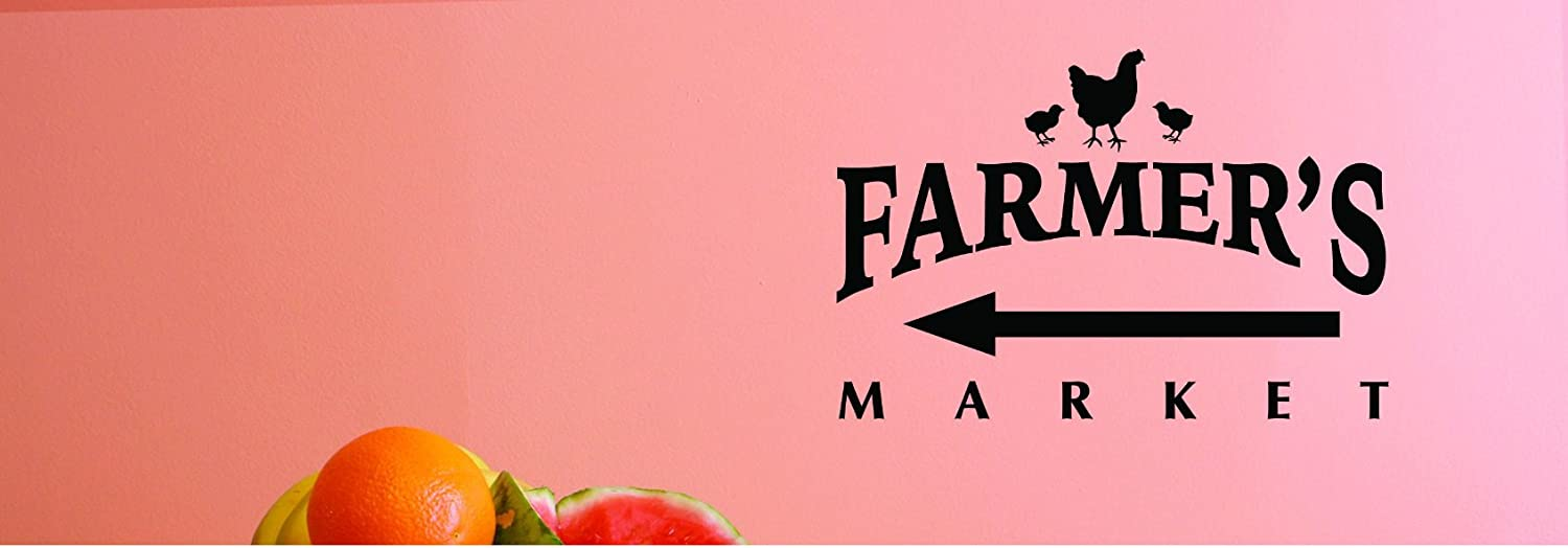 Design with Vinyl JER 1764 2 2 Hot New Decals Farmers Market Wall Art Size 14 inches x 28 inches Color 14 x 28 Black