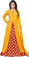 Fkart Women's Georgette yellow Embroidered Long Semi-Stitched party wear Salwar with dupatta