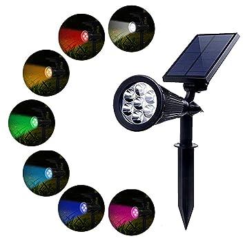 PowerKing Foco Solar Lámpara Exterior Proyector LED Foco Luz 7 ...