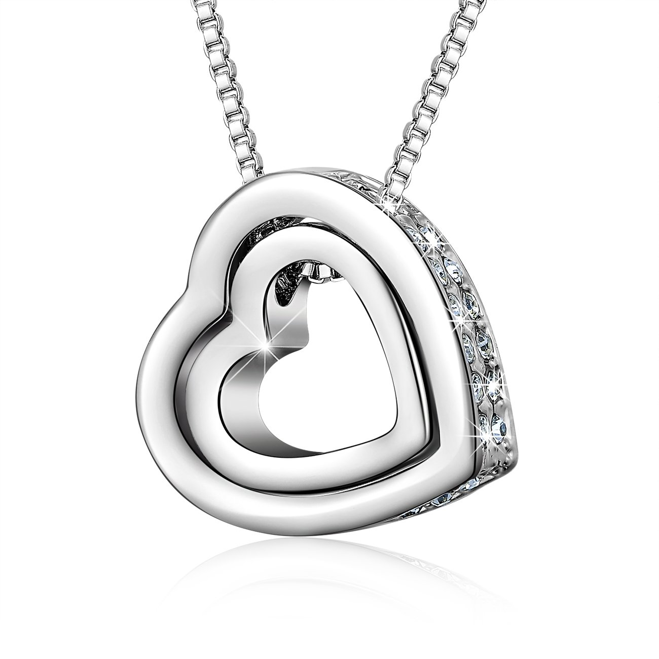NinaMaid Gift of Love Double Heart Pendant Necklace White Crystals Jewelry 20 Inch
