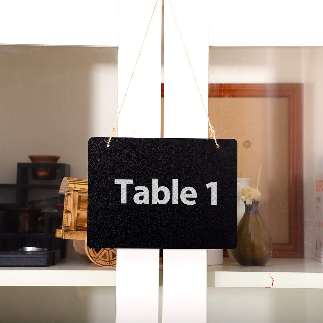 uxcell 2pcs Mini Chalkboards Signs with Hanging Rope Wood Rectangle Design Chalkboard Tag Board Signs Table Number Reminder Price Tag