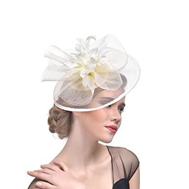 dressfan Fascia Fascinator Elegante Piuma Maglia Abito da sera Grandi  cappelli circolari Banchetto da sposa Garza copricapo Beige  Amazon.it   Abbigliamento 89ac556c7223