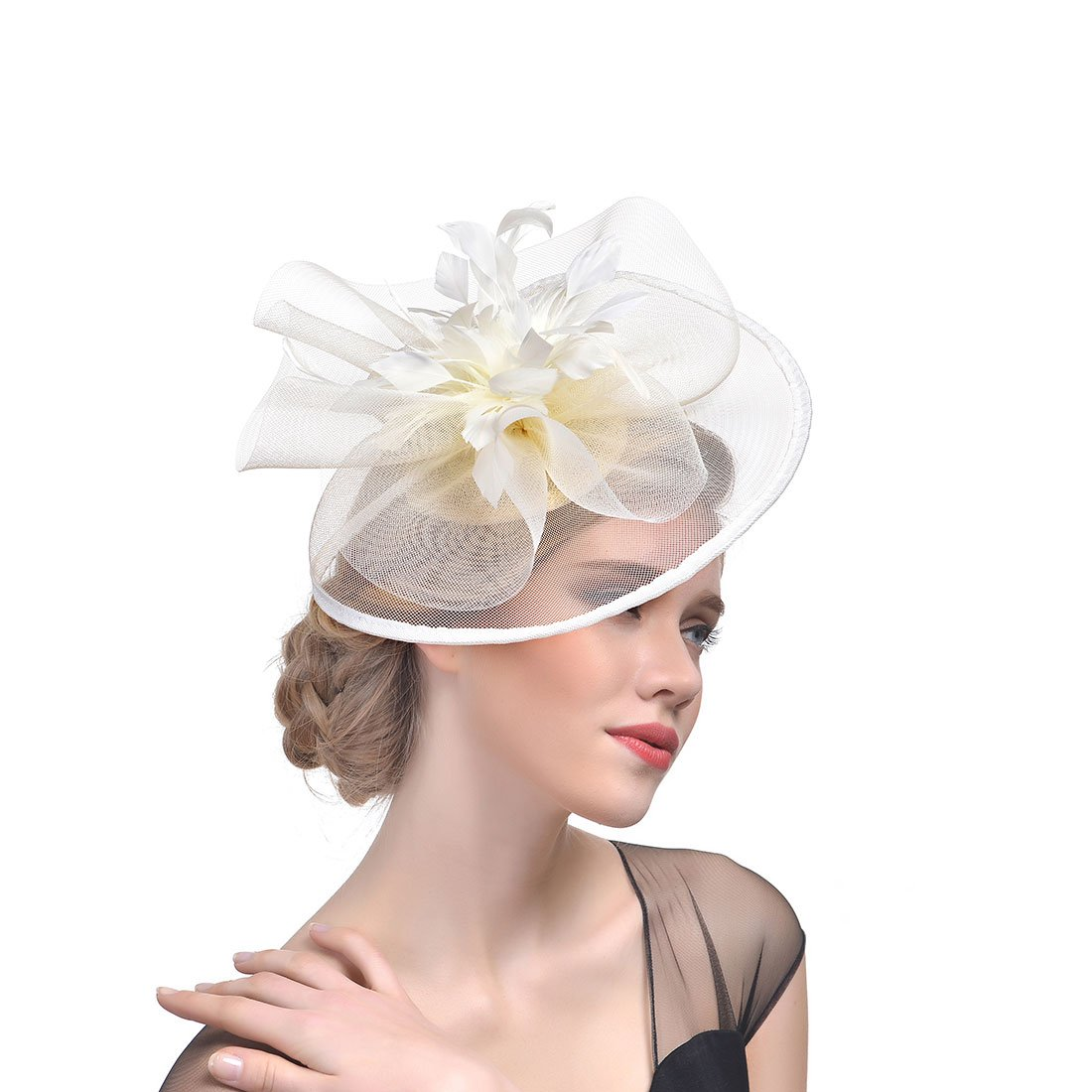 Sunshine girl Women Wedding Bridal Fascinator Veil Hair Ornament Headdress(Beige)