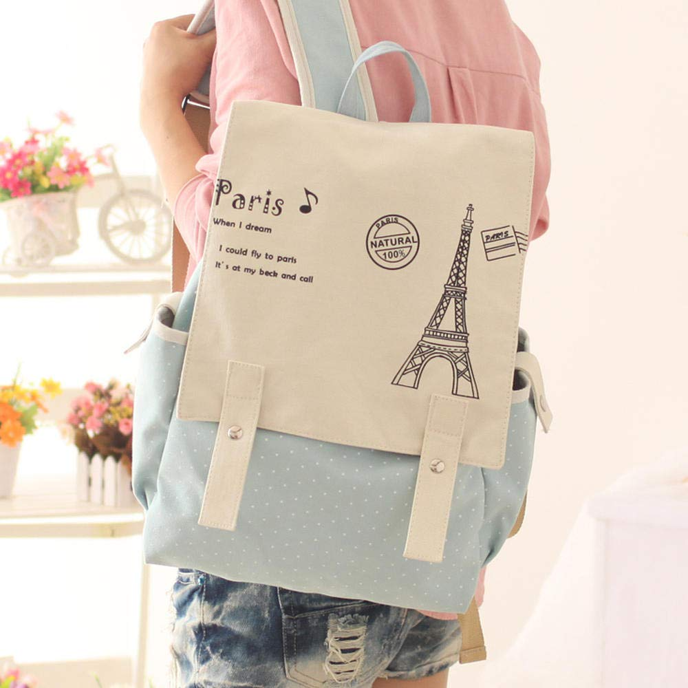 Light bluee tower CYCY Yufan canvas bag middle school student backpack female Korean version of the tide Japanese and Korean computer backpack British College wind small fresh light bluee tower