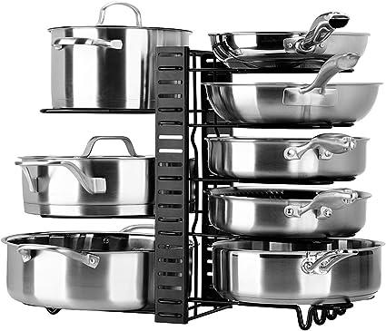toplife porte casseroles 3 diy methodes porte casseroles support en acier inoxydable rangement cuisine avec 10 compartiments reglables parfaite pour
