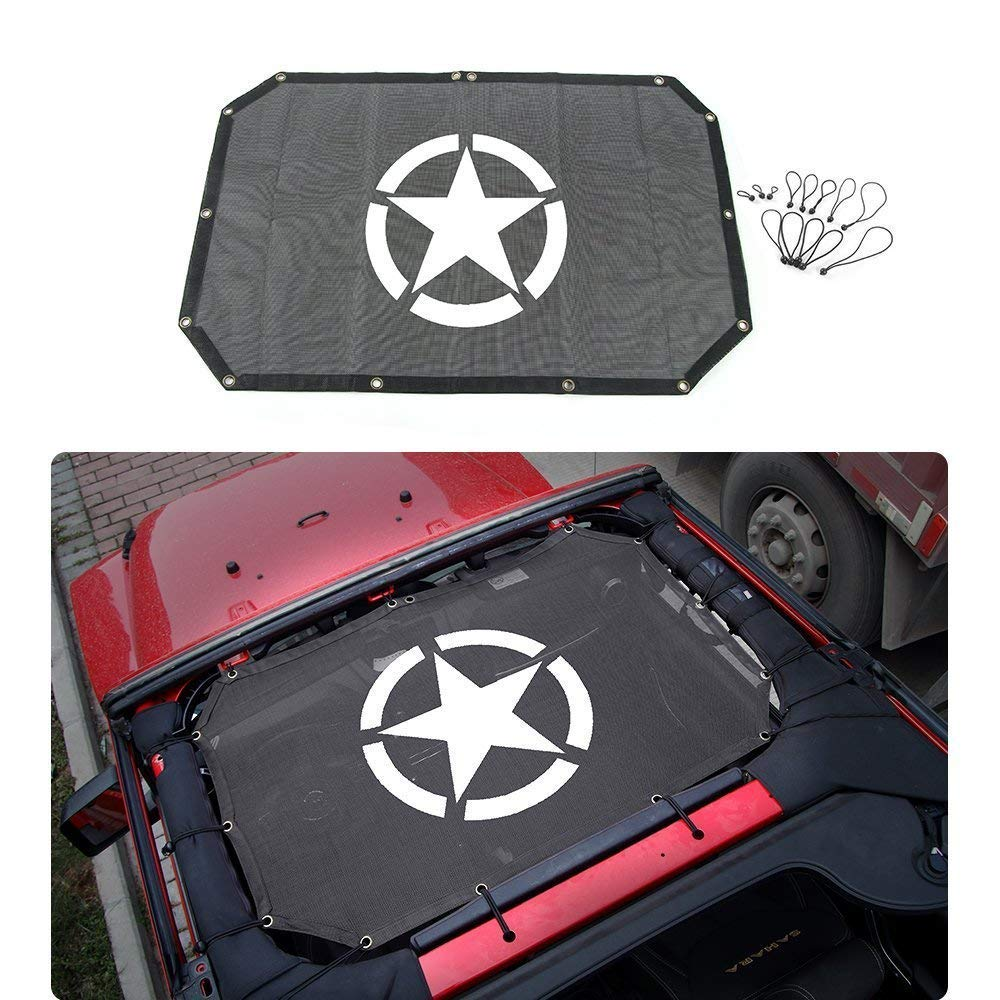 2018 JL 2018 Jeep Wrangler JL Bikini Mesh Sun Shade Top Sunshade Cover with Army Star Logo FOR your Jeep 2018 JL