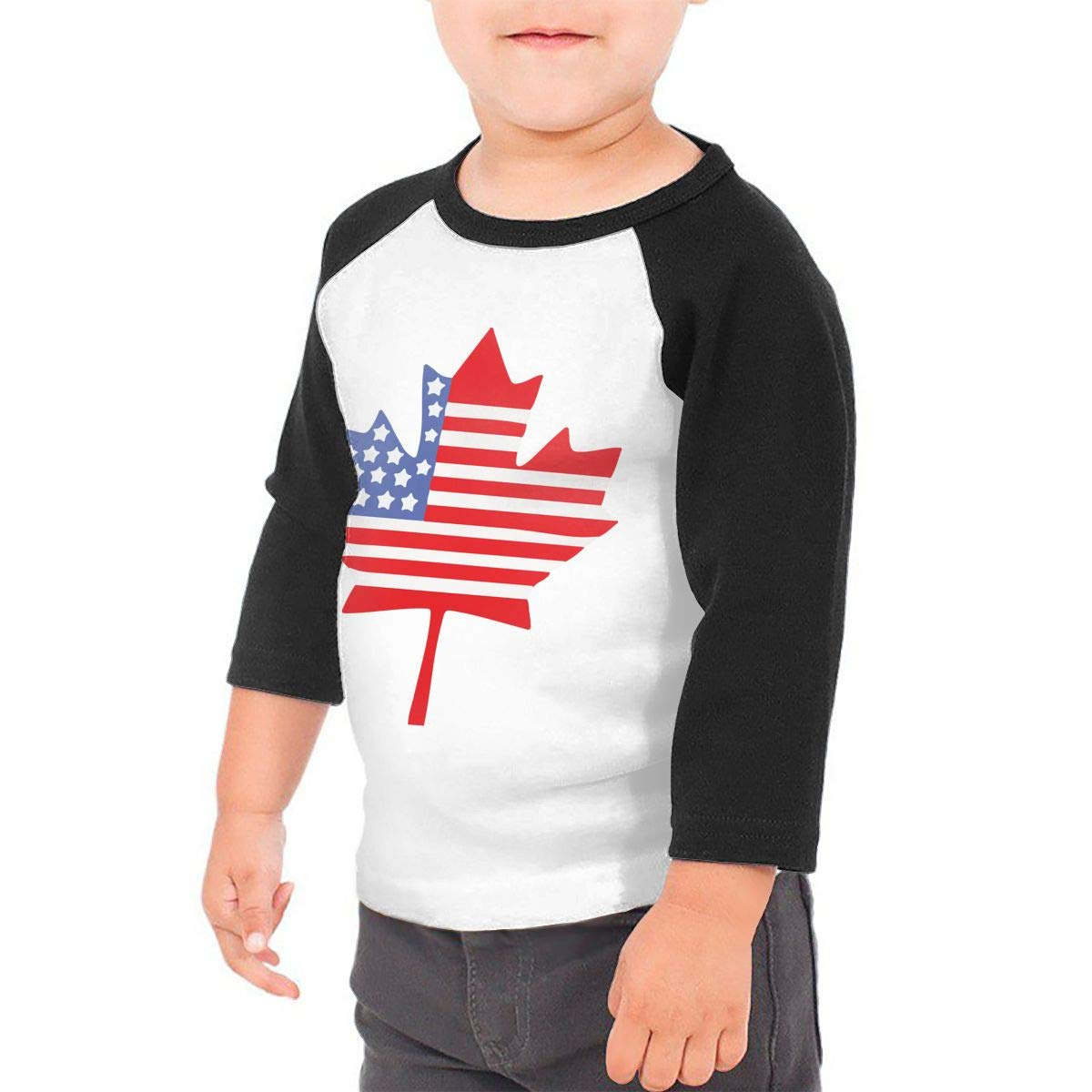 QPKMRTZTX0 Boys Girls Kids /& Toddler Canadian American Flag Long Sleeve Tees 100/% Cotton