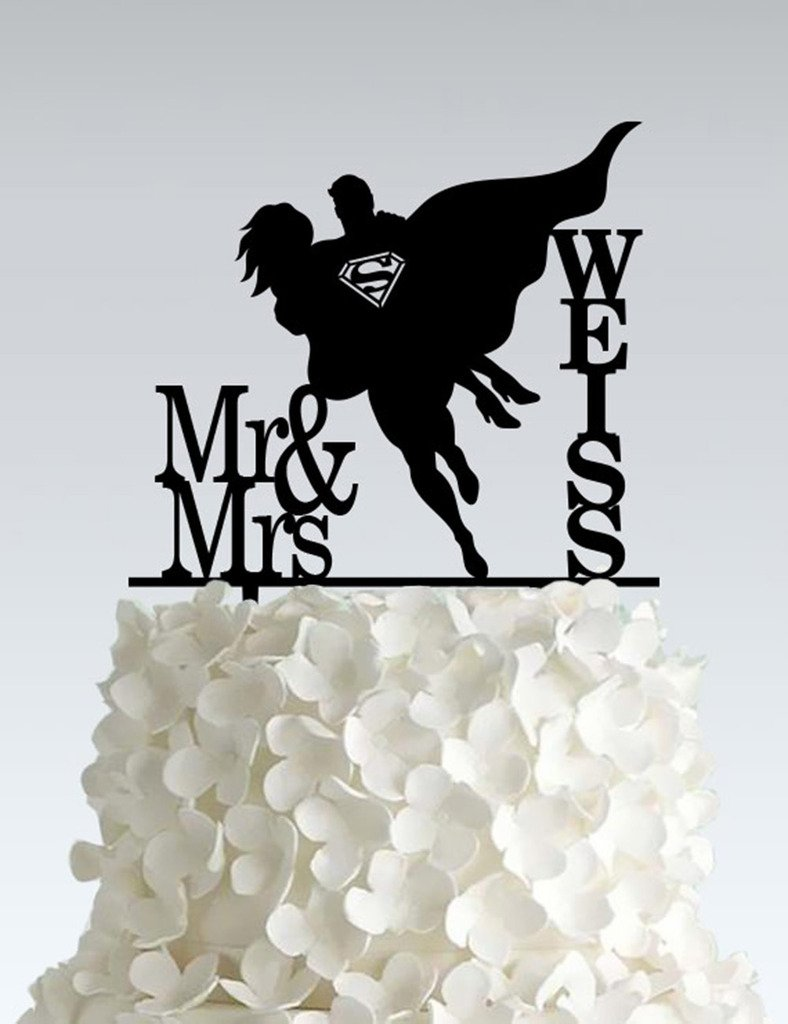Acrylic Wedding Cake Topper - Superman - Email us your name