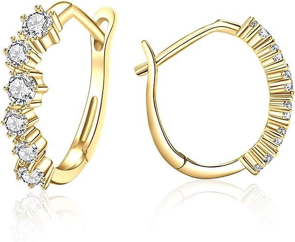 Sliver Small Hoop Earrings for Women Girls Huggie Earrings Piercings with Clear Cubic Zirconia