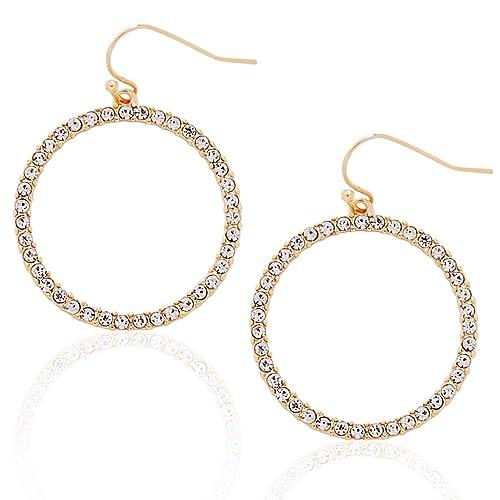 13fd9b631e83f9 Humble Chic Hoop Dangle Earrings - Simulated Diamond Round Circle Cutout  Statement Rhinestone Drops, Gold