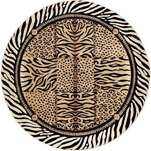 Wild Animal Print Circular Rug, Exotic Safari Animals Zebra Tiger Cheetah Leopard Prints 5ft Round Area Rug, Modern Indoor Circle Floor Mat Black White Stripes Border