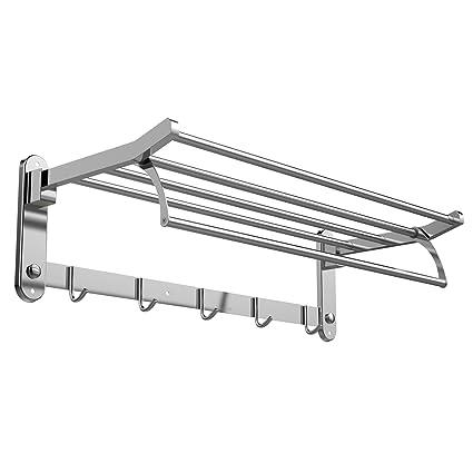 Inmount Towel Shelf Bathroom Towel Bar Stainless Steel Towel Rack Bathrobe  Hanger Foldable Wall Mount Holder