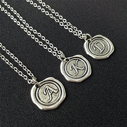 3 Initial Necklaces set,Wax Seal Necklace,Initial Necklaces,Custom Necklace,Monogram charms,Personalized Necklace,Monogrammed Gifts
