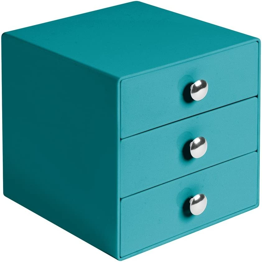 iDesign 3 Drawer Storage Organizer for Cosmetics, Makeup, Beauty Products and Office Supplies, Teal