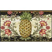 Toland Home Garden Pineapple and Scrolls 18 x 30 Inch Decorative Floor Mat Classic Fruit Design Flower Pattern Doormat