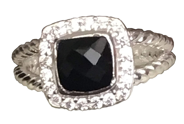 Gempara Designer Inspired Silver 7mm Black Onyx Petite Albion Ring Size 6 7 8 9 10
