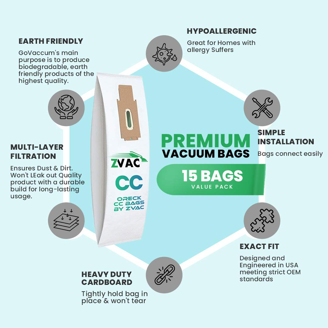 Zvac Replacement Oreck Cc & Xl Vacuum Bag Compatible With Oreck ...