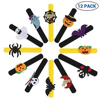 Wristband for Halloween Decoration Dazzling Toys Halloween Pumpkin Designed Slap Bracelets Set of 8 Slap Bracelets Halloween Party Favors